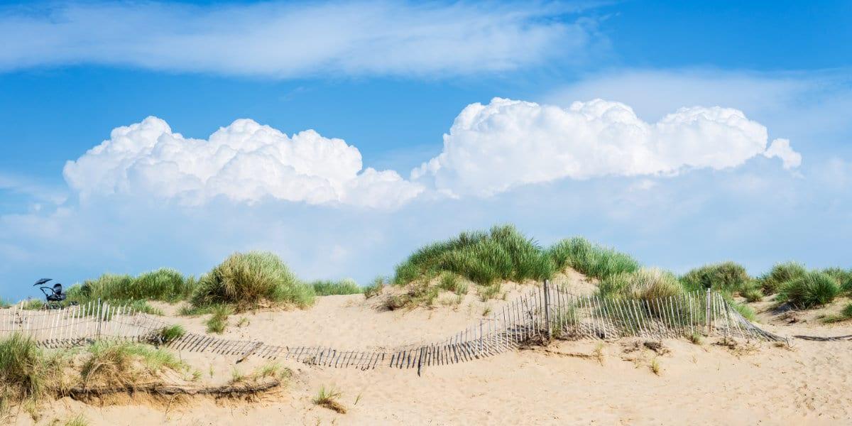 Sandy Formby Beach  near Liverpool on a sunny day
