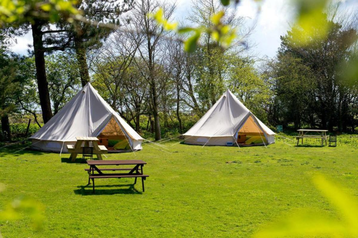Bell tents at YHA Truleigh Hill