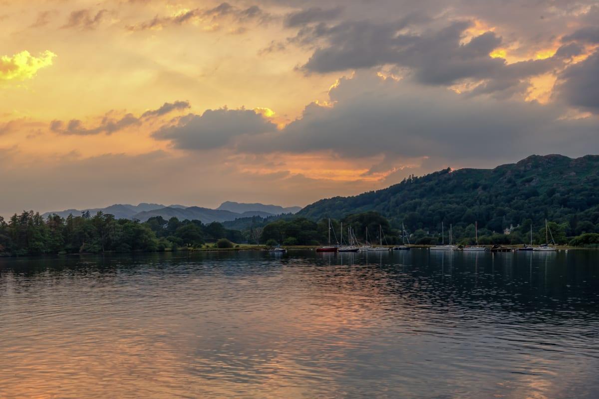 Lake and hills at sunset