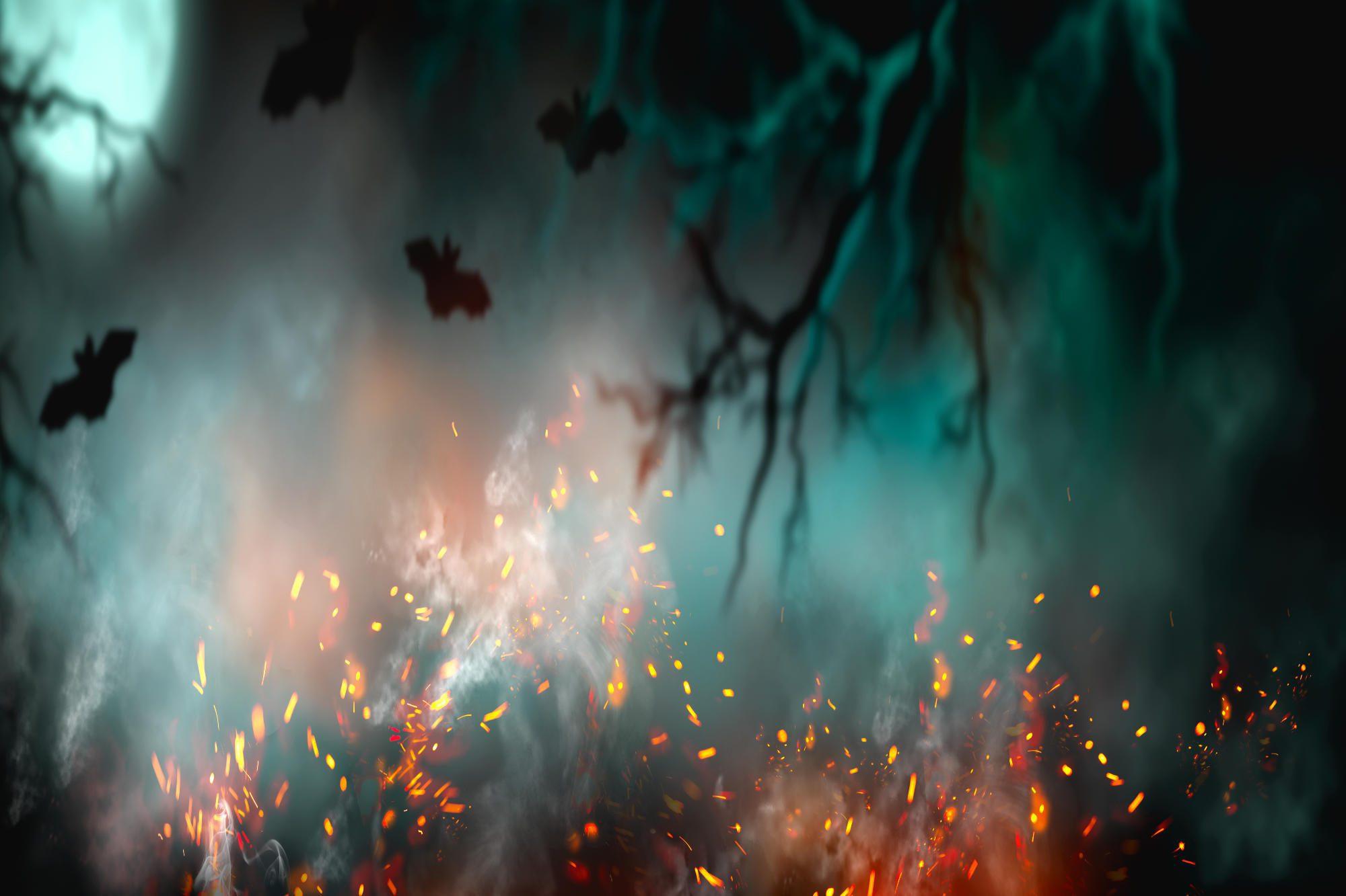 Dark deep forest backdrop with smoke, fire, vampire bats.