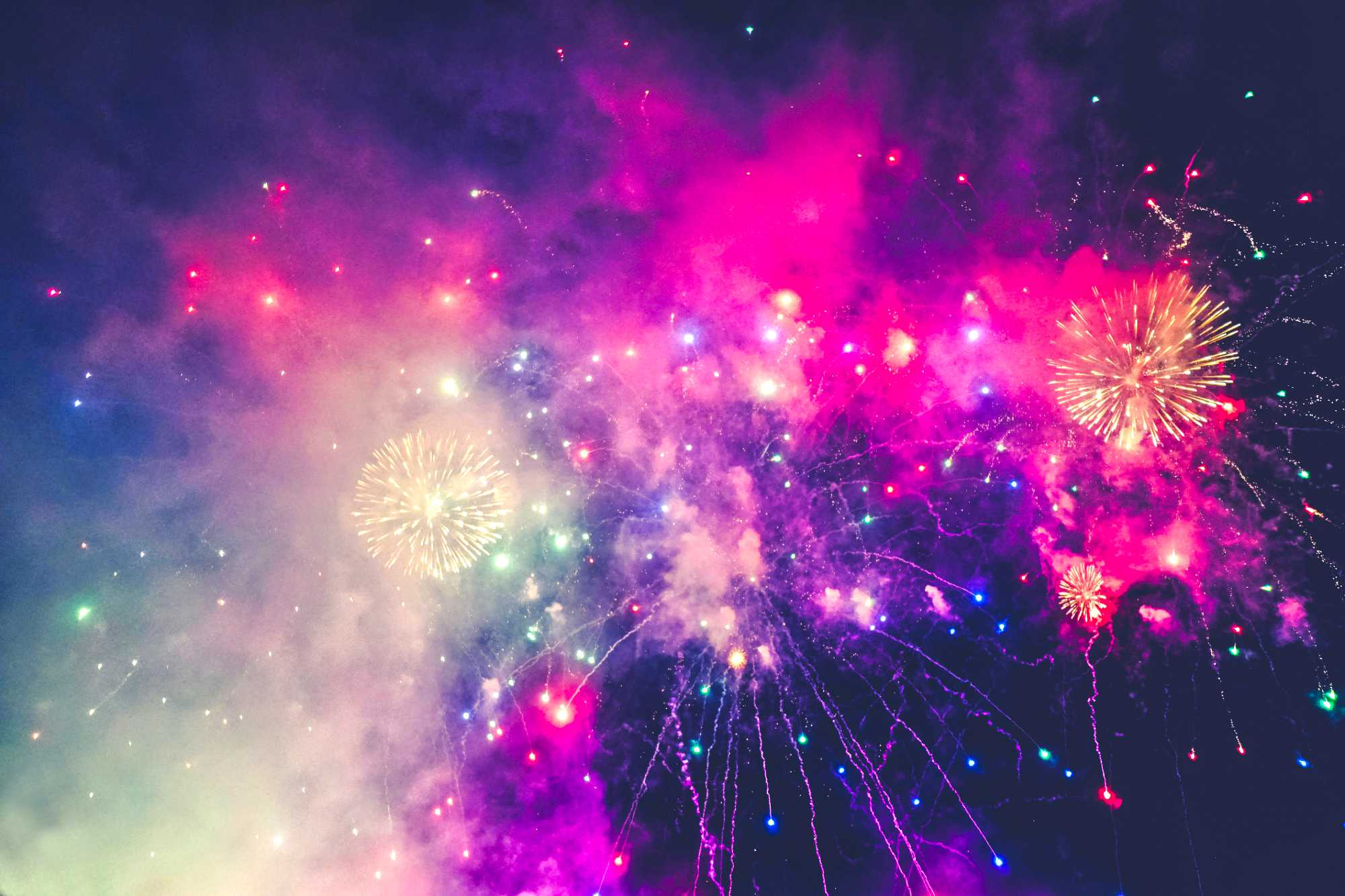 Bright fireworks in the sky