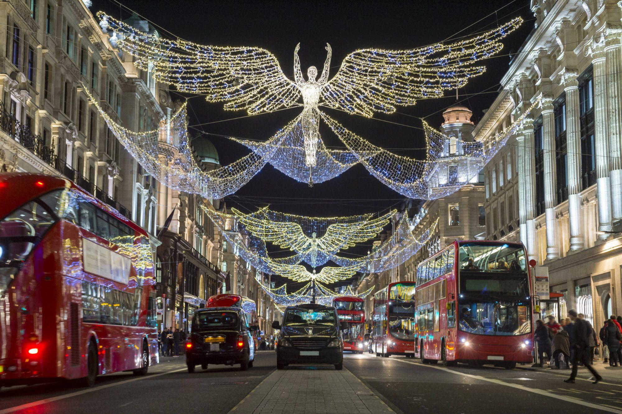 Christmas light city scape