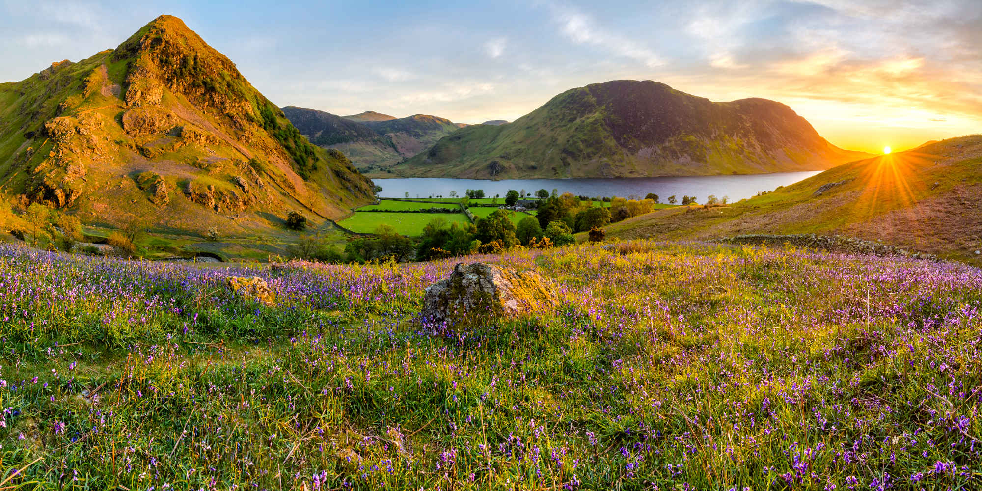 Beautiful sunset at Rannerdale Knots in the Lake District