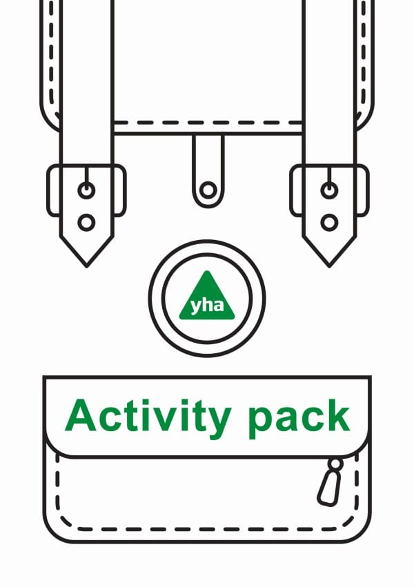 Line drawing of a satchel with the YHA logo and 'activity pack' written in green