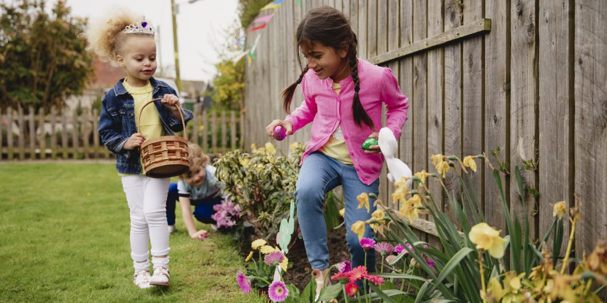 Children hunting for Easter eggs