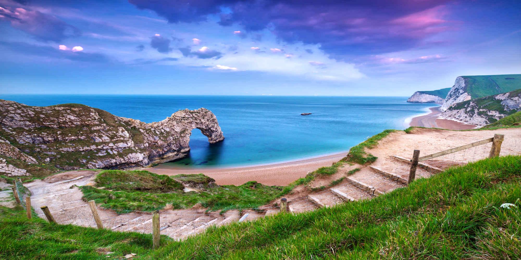 Jurassic Coast of Dorset with Durdle Door at sunrise