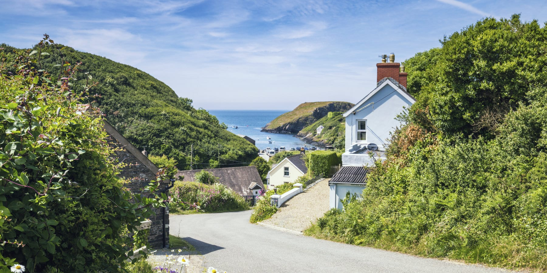 Welsh Coastal Village at Bright Sunny Day