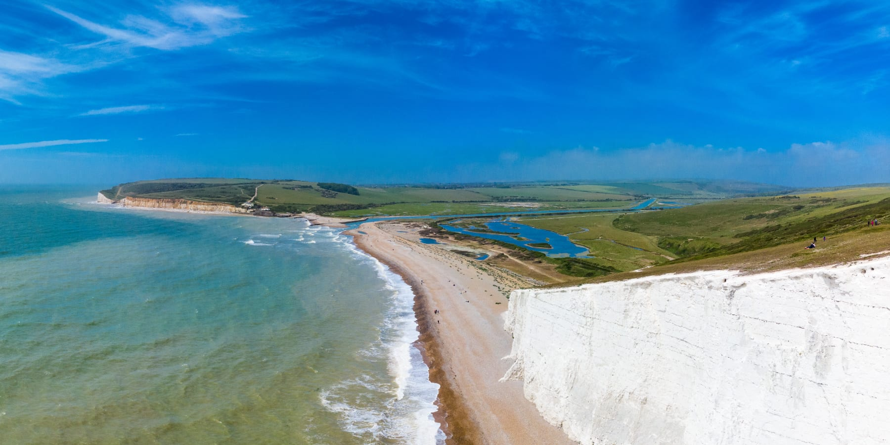 White cliffs overlooking sea