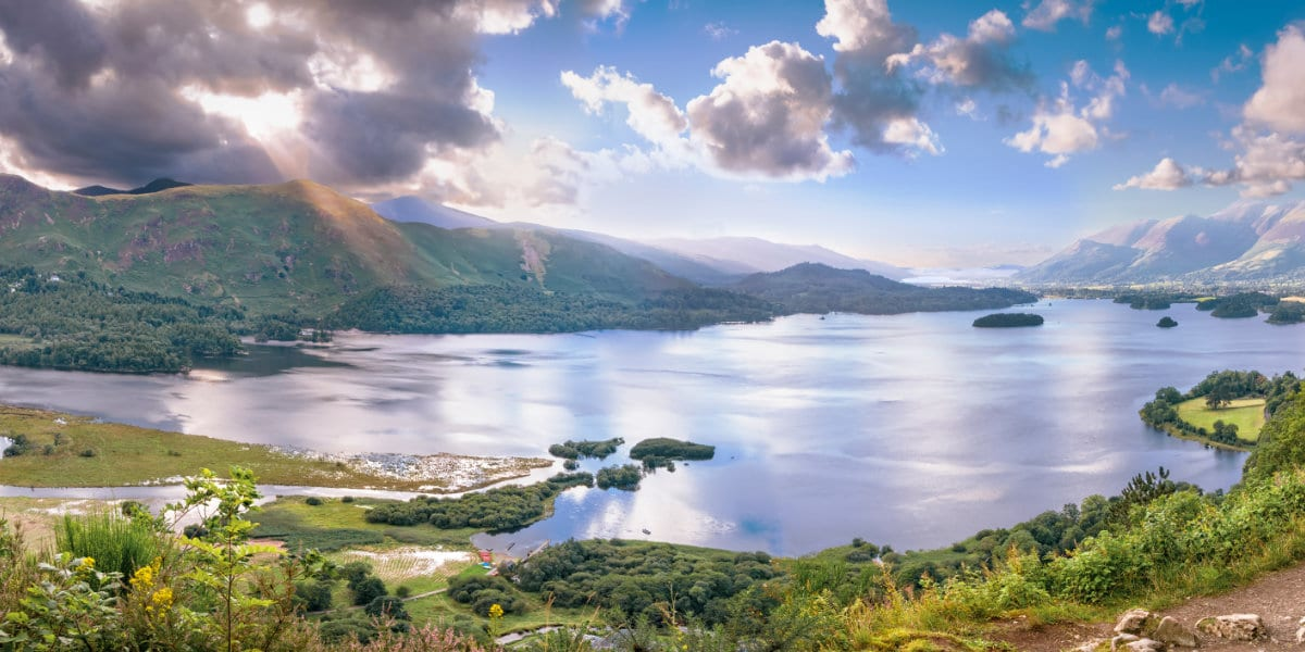 Panorama of Derwentwater lake in Cumbria