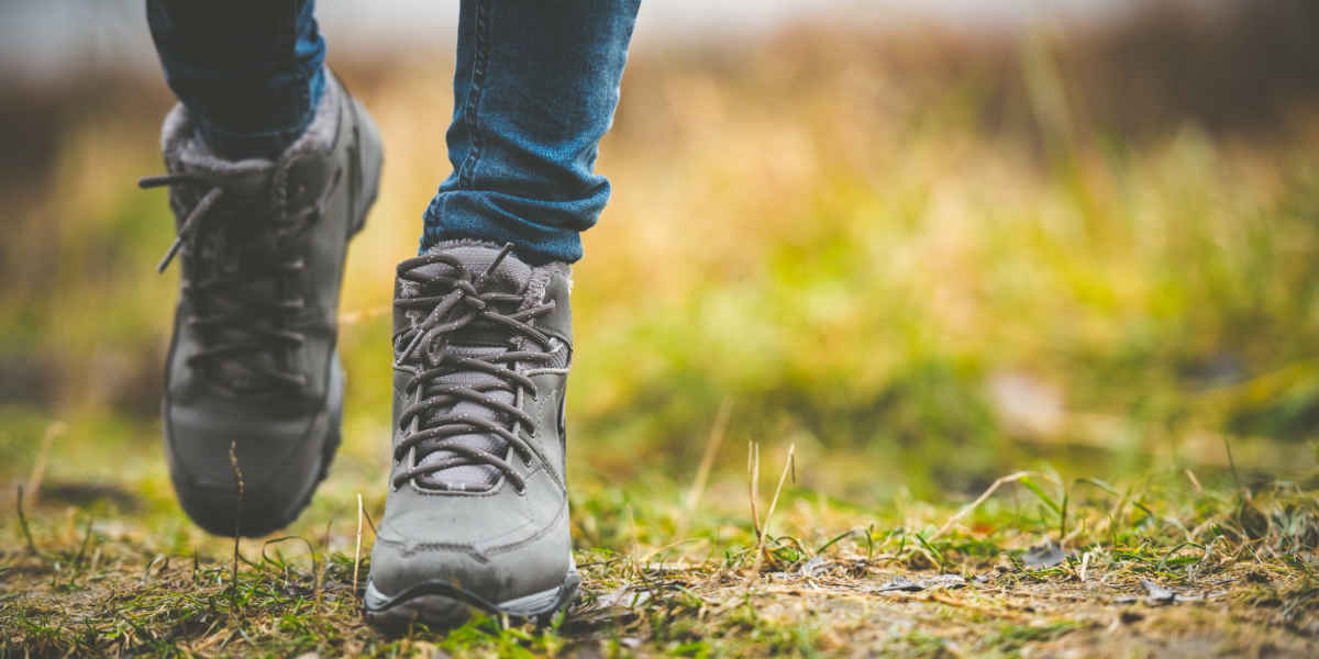 Walking boots in the forest