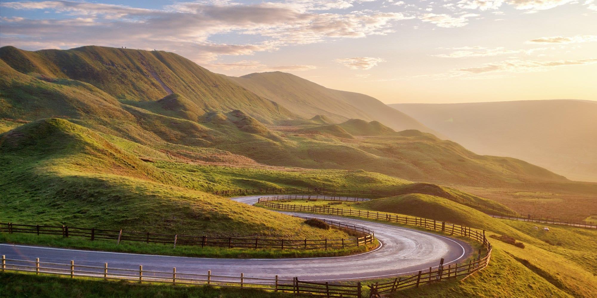 Sunset over Winnats Pass in Peak District United Kingdom