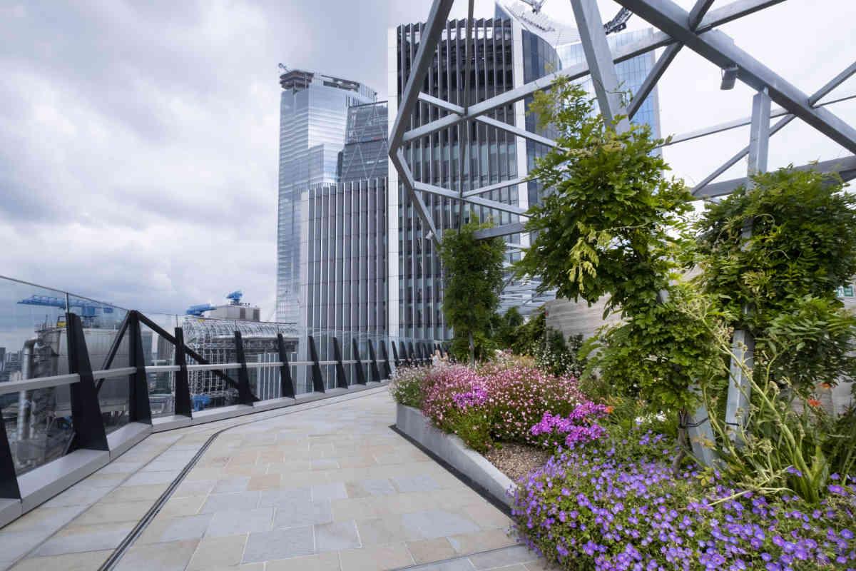 Roof top garden at Fen Court in London