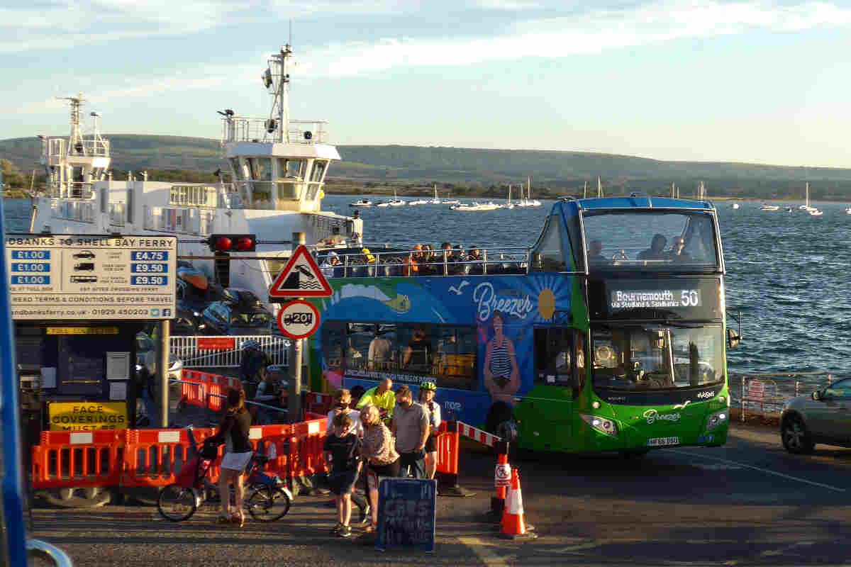 bus and ferry near the sea