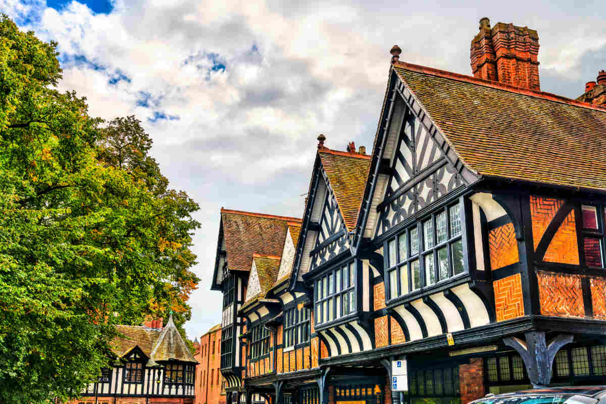Traditional Tudor English style houses in Chester, England