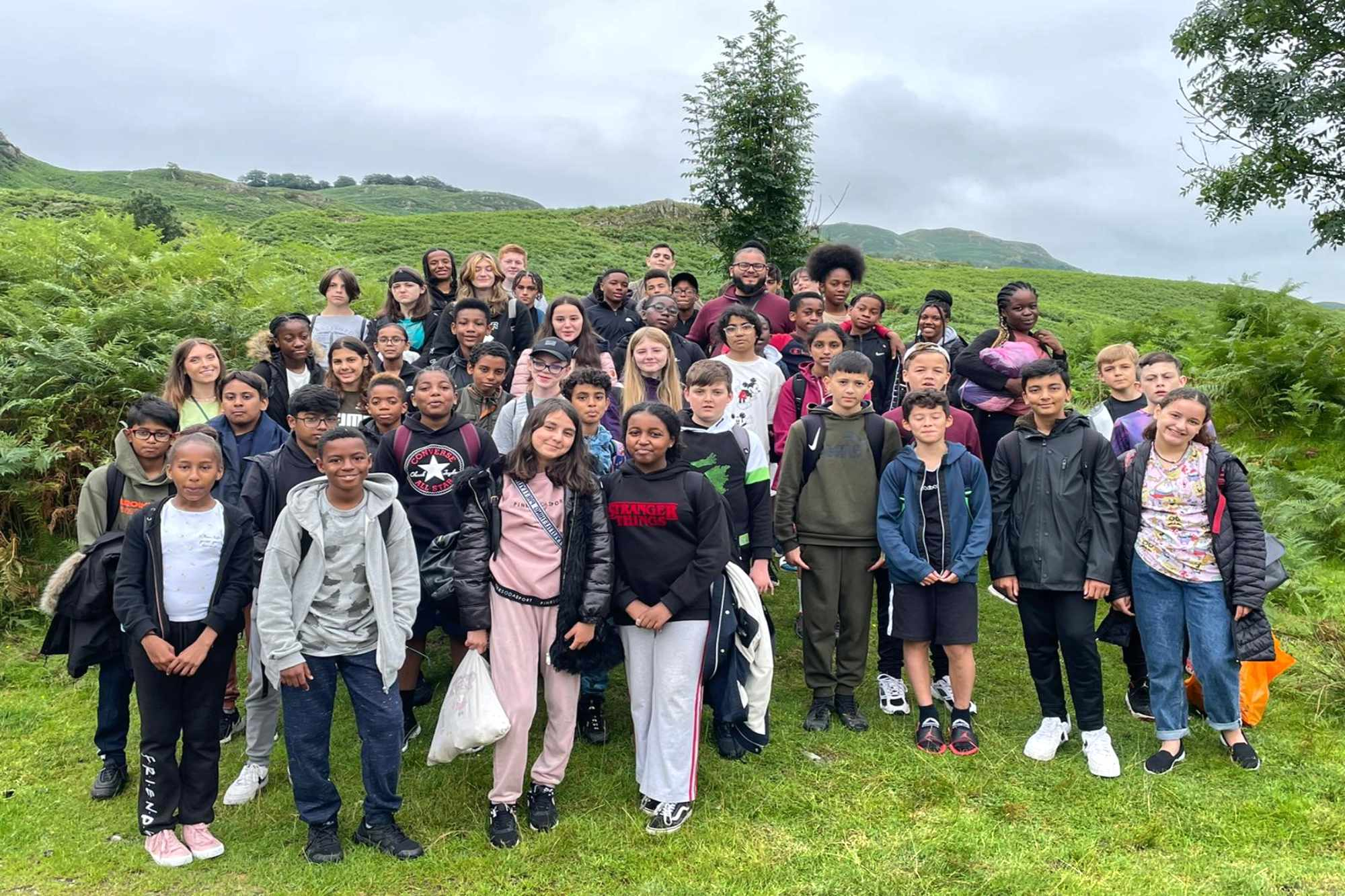 Group of school children on a school trip